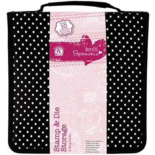 docrafts Papermania Stamp and Die Storage, Black with White Polka Dots