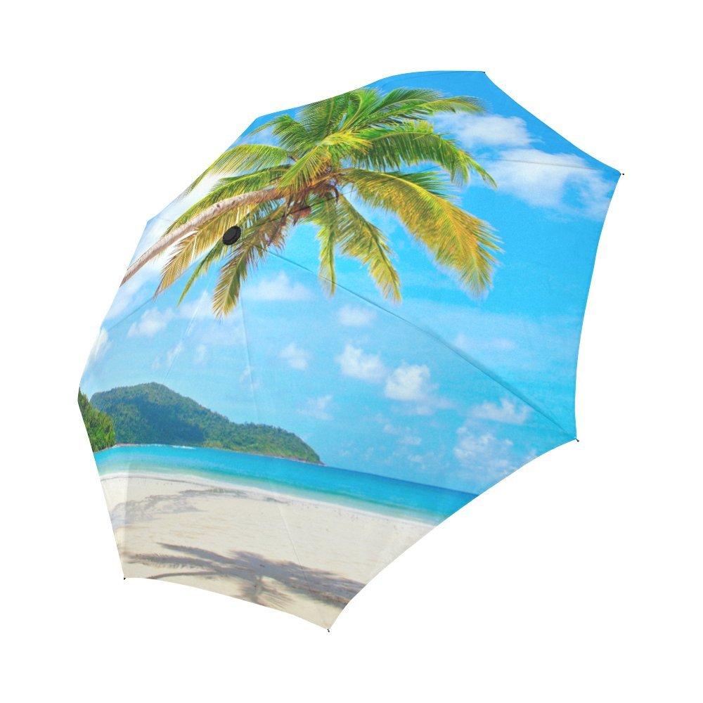 InterestPrint Summer Palm Tree over Tropical Beach Ocean Windproof Compact One Hand Auto Open and Close Folding Umbrella, Rain & Outdoor Unbreakable Travel Umbrella