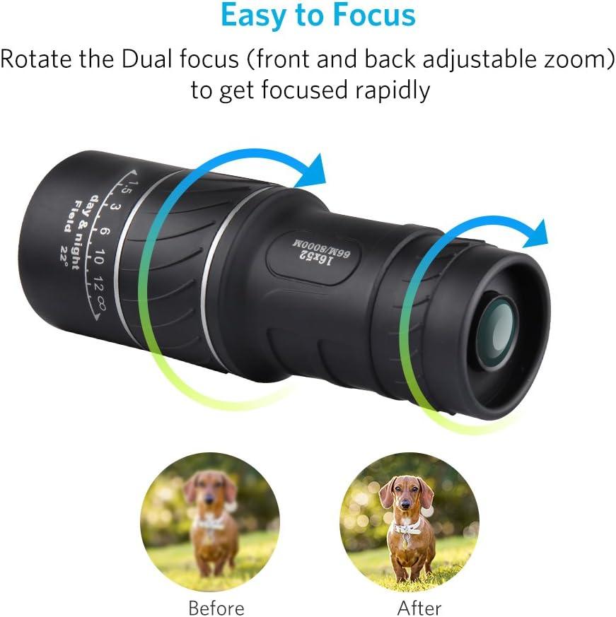 Monocular 16x52 Optics Zoom Lens Camping Hiking Hunting Telescope Scope Outd/_QA