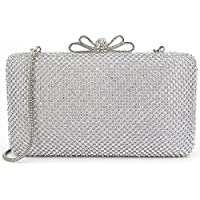Dexmay Bling Rhinestone Crystal Clutch Purse Bow Clasp Women Evening Bag for Bridesmaid Wedding Party