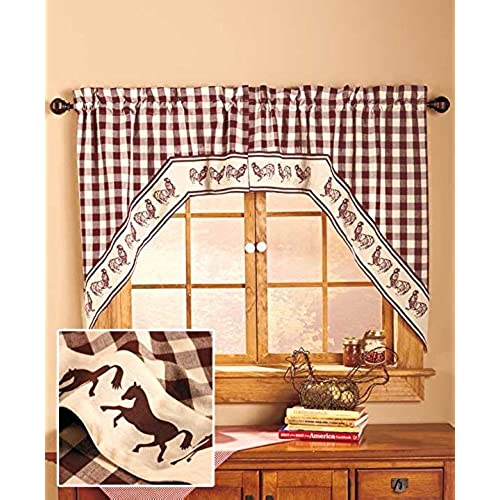 Swag Style Country Curtain Sets (Horse)