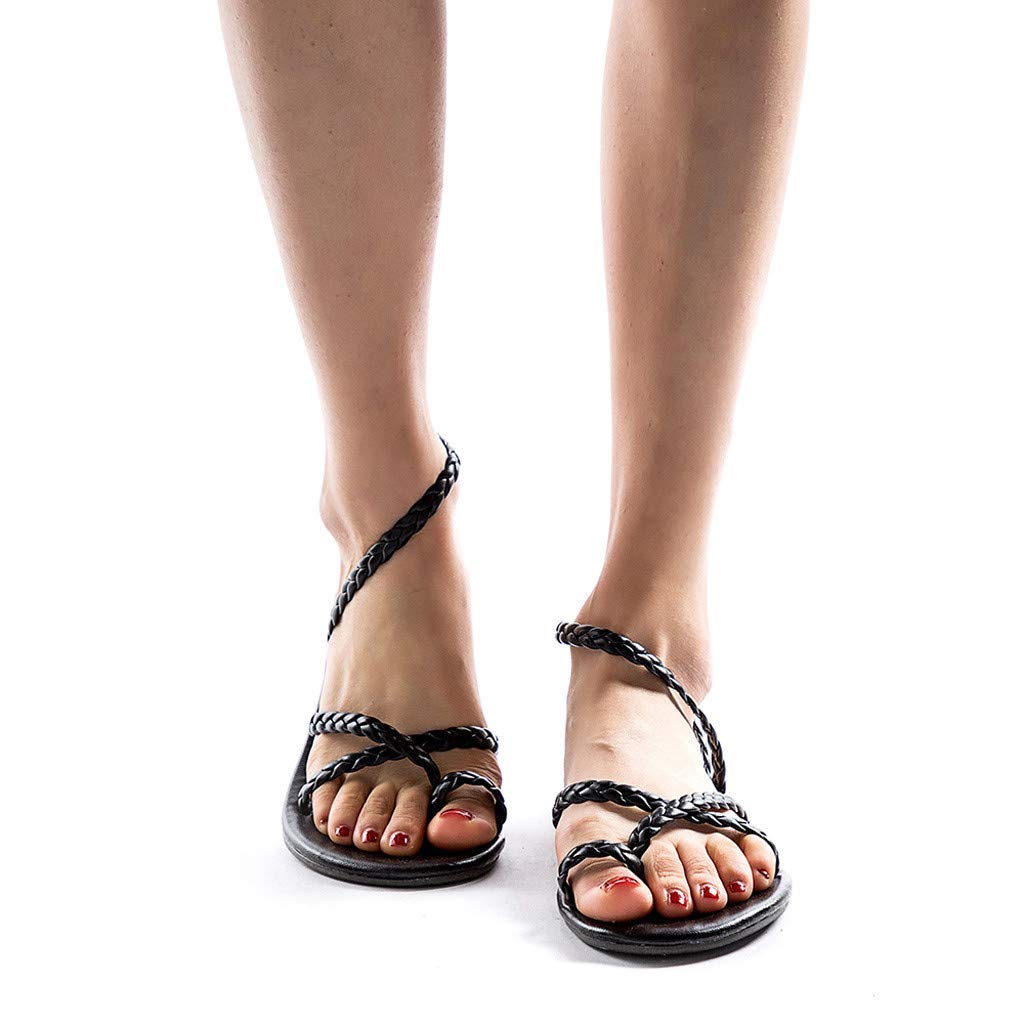 Lurryly Womens Ladies Spring Summer Woven Flat Heel Slippers Beach Sandals Roman Shoes