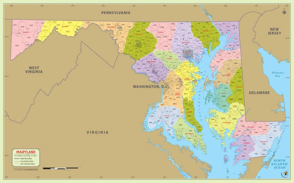 Zip Code Map Maryland Amazon.: Maryland County with Zip Code Map (48
