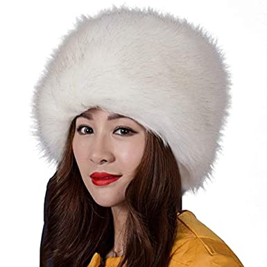 7d12fff7 Di lusso Women's Faux Fur Russian Hat Cossack Style Hat 58cm White ...