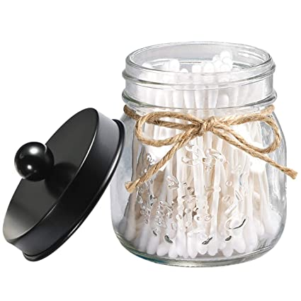 Delicieux Qtip Holder Apothecary Jars Bathroom   Farmhouse Decor Qtip Dispenser Glass    8oz Mason Jars With