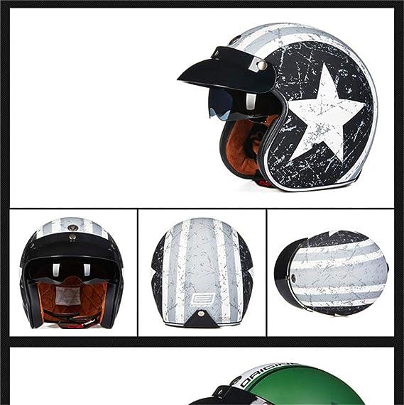 Amazon.com: Manufanoongs Retro Harley Open Face Vintage Cruiser Helmet Moto Casque Casco Motocicleta Capacete Helmets: Sports & Outdoors