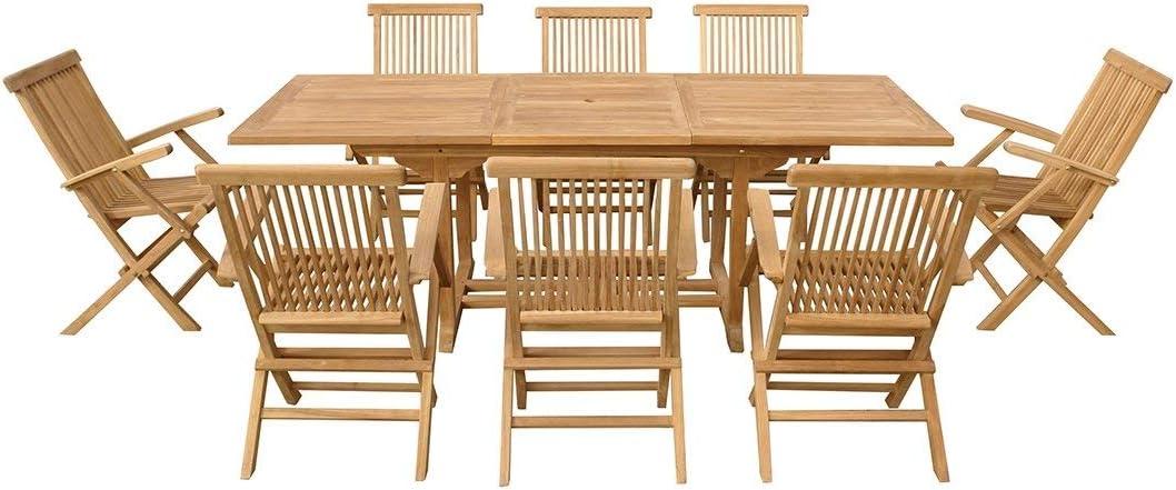 Beliani Conjunto de jardín - Mesa de Madera Dura - 8 sillas - Java: Amazon.es: Hogar