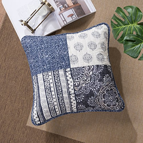 Cotton Patch Bedding - DaDa Bedding Patchwork Cushion Covers - Cotton Bohemian Denim Blue Elegance - Bright Vibrant Multi Colorful Navy Floral - 18