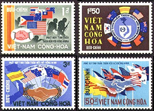 South Vietnam Stamps - 1968, Sc 327-30, Flags of Vietnam's Allies, MNH, F-VF