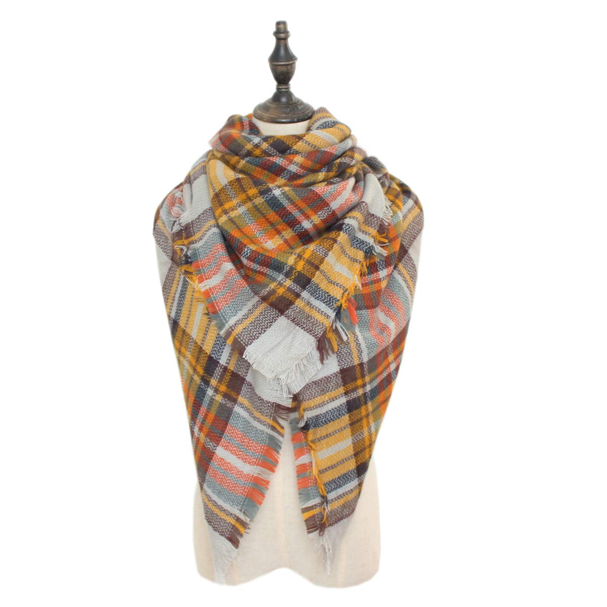 Blevla Classic Plaid Scarf Shawl Cape Winter Scarves Blanket Wrap Tartan Scarf with Tassels Style1