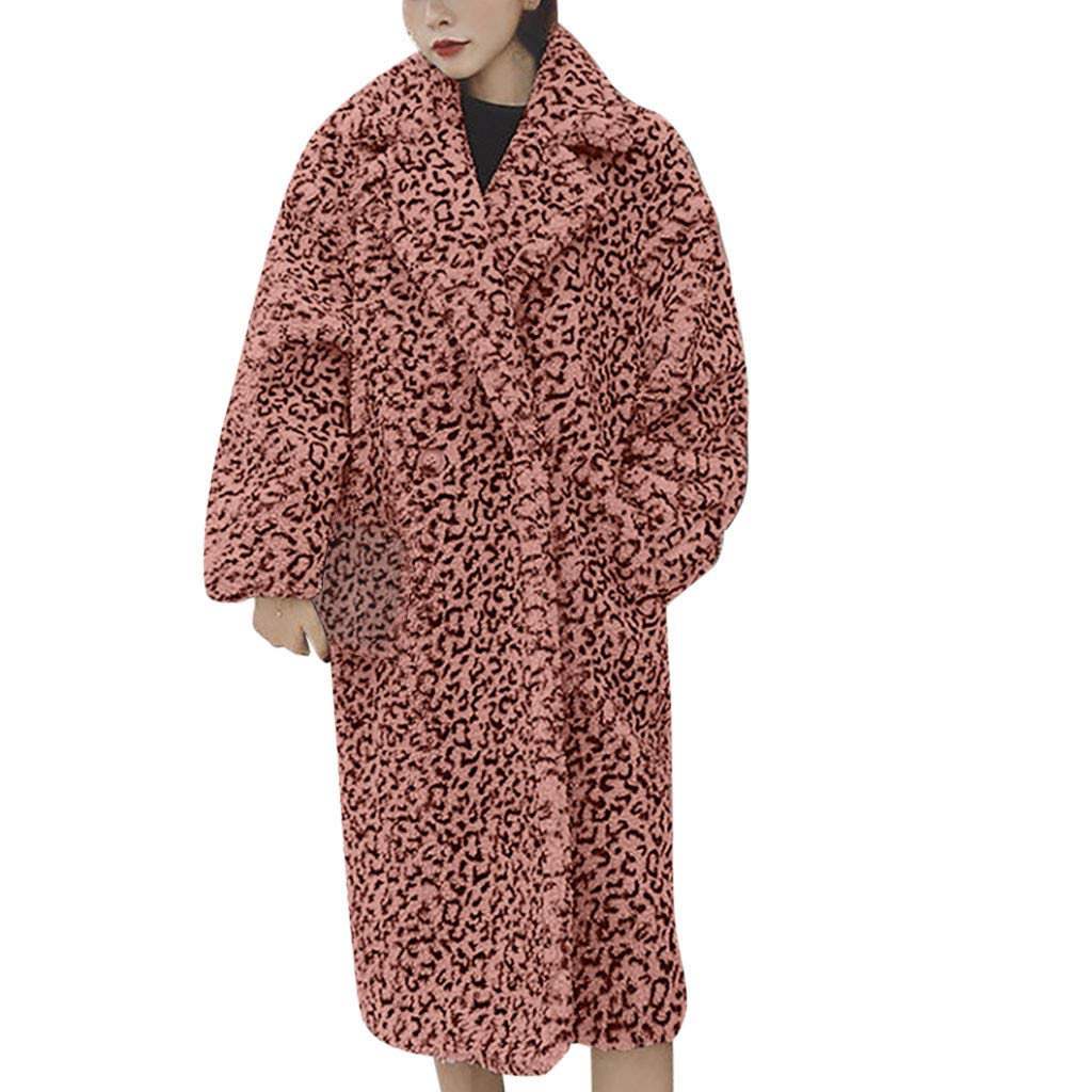 Shusuen Women Fashion Leopard Print Winter Overcoat Lapel Woolen Long Coat Pink by Shusuen_Clothes