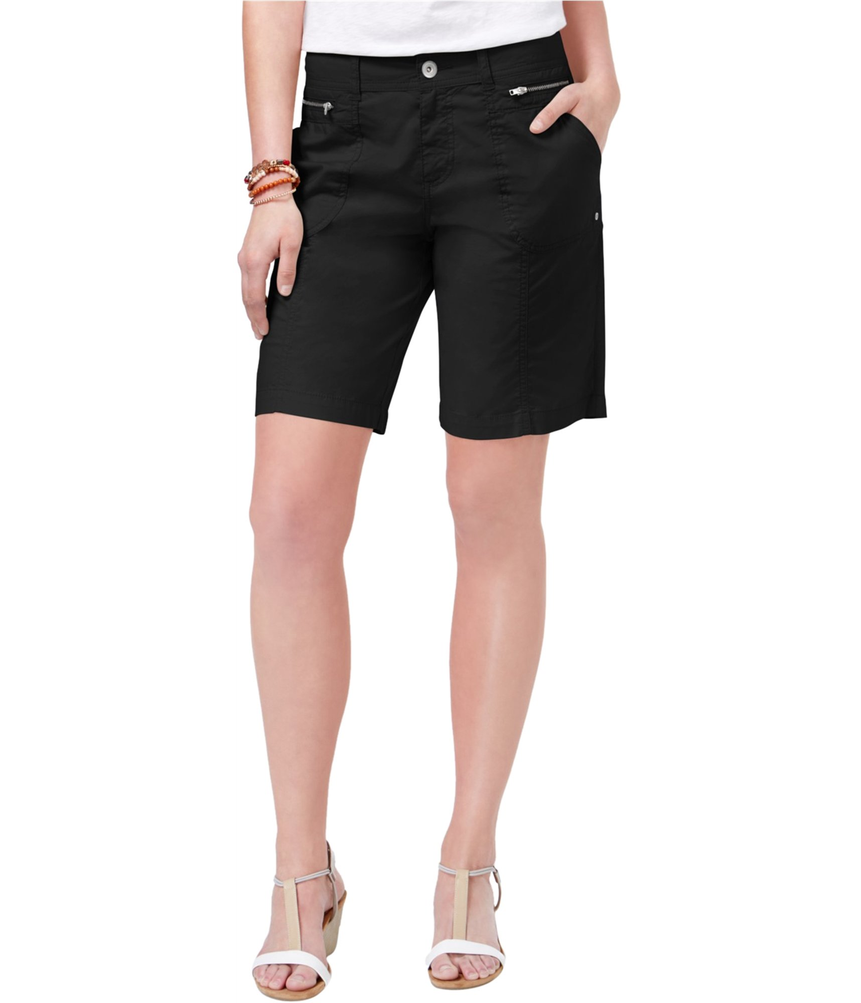 Style & Co. Womens Twill Mid Rise Casual Shorts Black 14
