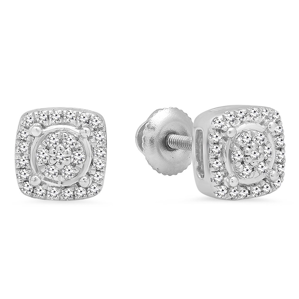 0.20 Carat (ctw) Sterling Silver Round White Diamond Ladies Cluster Style Stud Earrings 1/5 CT