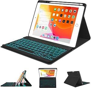 iPad Keyboard Case 10.2 8th 7th Generation 2020/2019 - Pro 10.5 Air 3rd Gen 2019/2017 - Detachable Backlit Wireless BT Keyboard - Built-in Pencil Holder - Auto Sleep/Wake Case for iPad 10.2