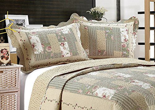 ALL FOR YOU 2-Piece Embroidered Quilted Pillow shams-standard size (sage green patchwork (Patchwork Quilted Standard Sham)