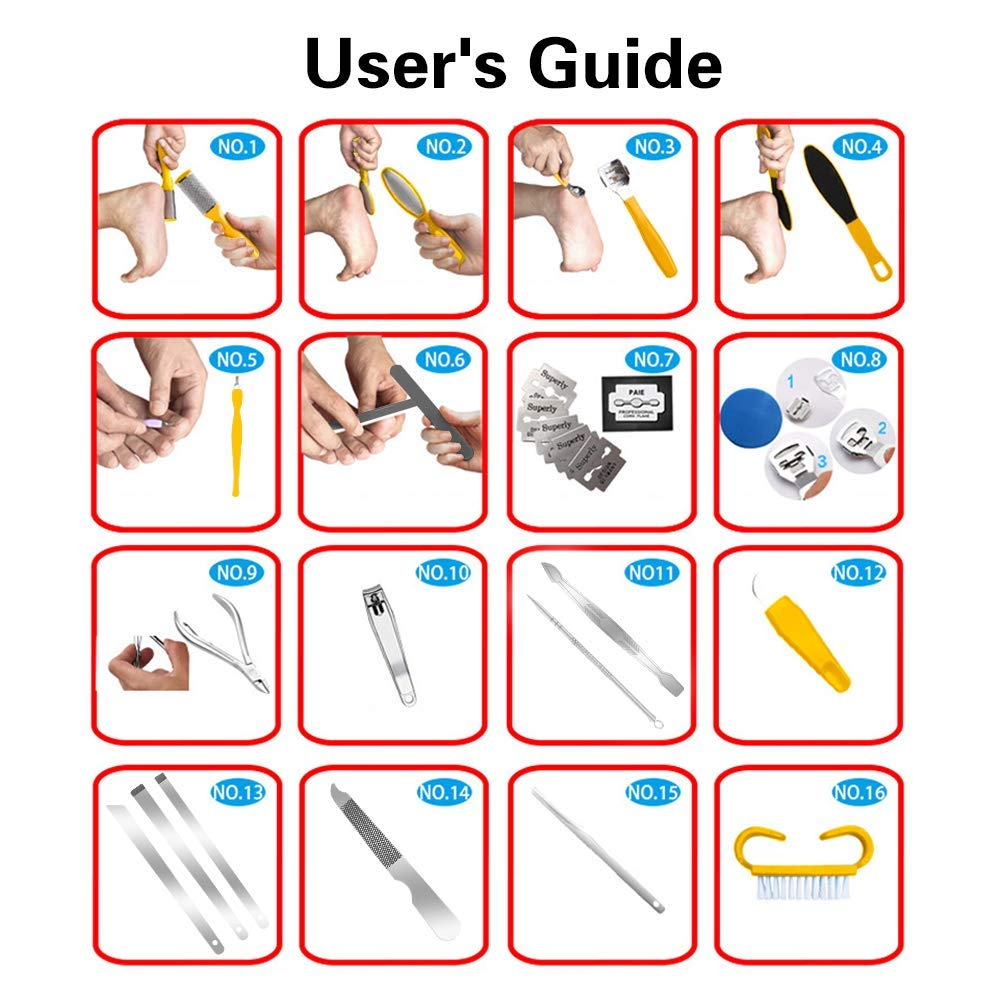Pedicure Kit Professional Tools 22 in 1, MOLYHUA Foot Care Pedicure Set Stainless Steel Foot Rasp Foot Dead Skin Remover Pedicure Kit professional products for Men/Women : Beauty
