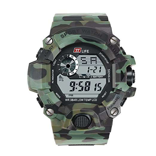 TTLIFE TS06 Reloj Para Hombre Deporte Reloj Digital (Camuflaje Verde)
