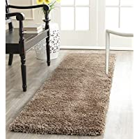 ON 2 x 6 Brown Tan Shag Runner Rug Rectangle, Indoor Dark Beige Shaggy Fluffy Hallway Carpet Extra Thick Solid Color Ultra Soft Luxurious Carpeting Entryway Entrance Way Sleek, Polypropylene