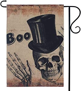 LINKWELL Vintage Halloween Small Garden Flag Double Sided 12.5 x 18 Inch Boo Skull Flag Yard Flag Small Outdoor Home Decorations GF10