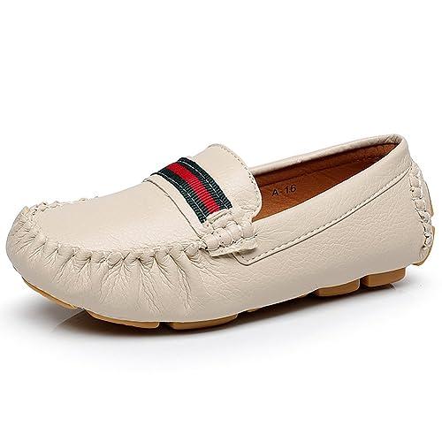 Jamron Unisexo Chicas Chicos Super Suave PU Cuero Mocasines de Cinta Pequeños Niños Niñito Ligero Zapatos para Caminar Beige EU28: Amazon.es: Zapatos y ...