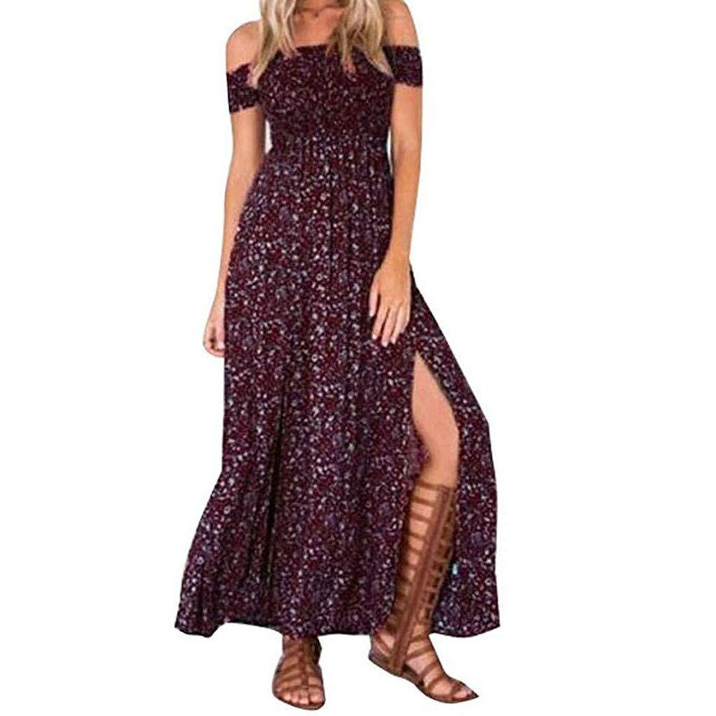 Sunday Damen Sommerkleid Lang Strandkleid Schulterfrei Partykleid Casual Knielang Blumen Kleid Vintage Maxikleid