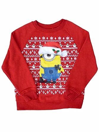 Amazon.com: Despicable Me Girl Red Minion Christmas Sweatshirt ...