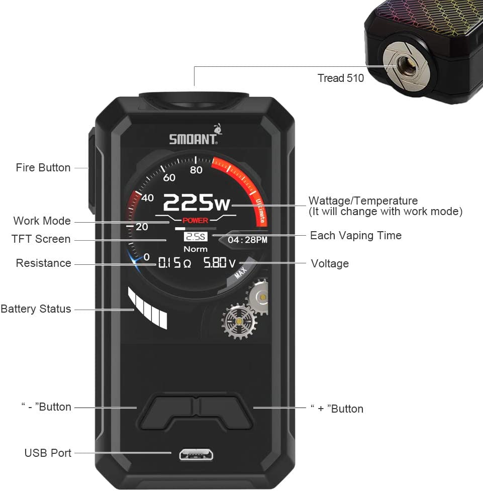 Cigarrillo electrónico Smoant Charon Mini 225W Vape Mod Box, sin E ...