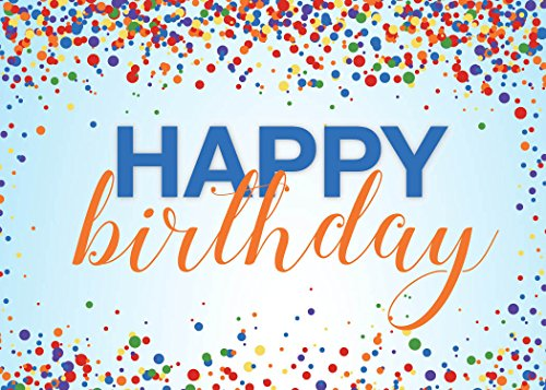 Birthday Greeting Cards - B1701. Business Greeting Card Featuring Colorful Confetti Surrounding a Birthday Message on a Blue Background. Box Set Has 25 Greeting Cards and 26 Bright White Envelopes.