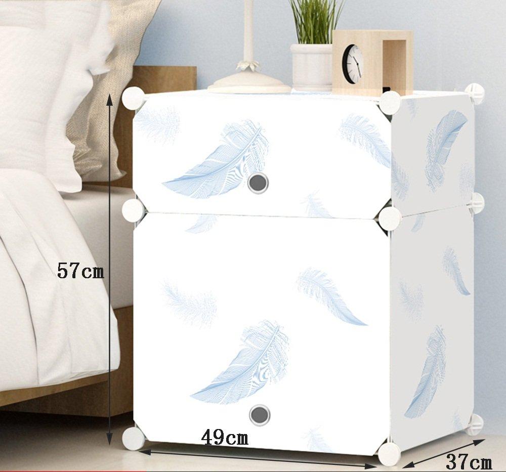 Flashing-DIY Pluma patrón de resina de plástico ABS cabecera de la cabecera, mini gabinetes de almacenamiento, simple armarios simple gabinete de cabecera moderna con puertas ( Tamaño : 493757cm )
