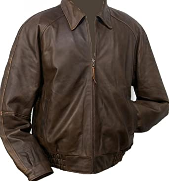 Burk's Bay Men's Distressed Classic Leather Bomber Jacket at ...