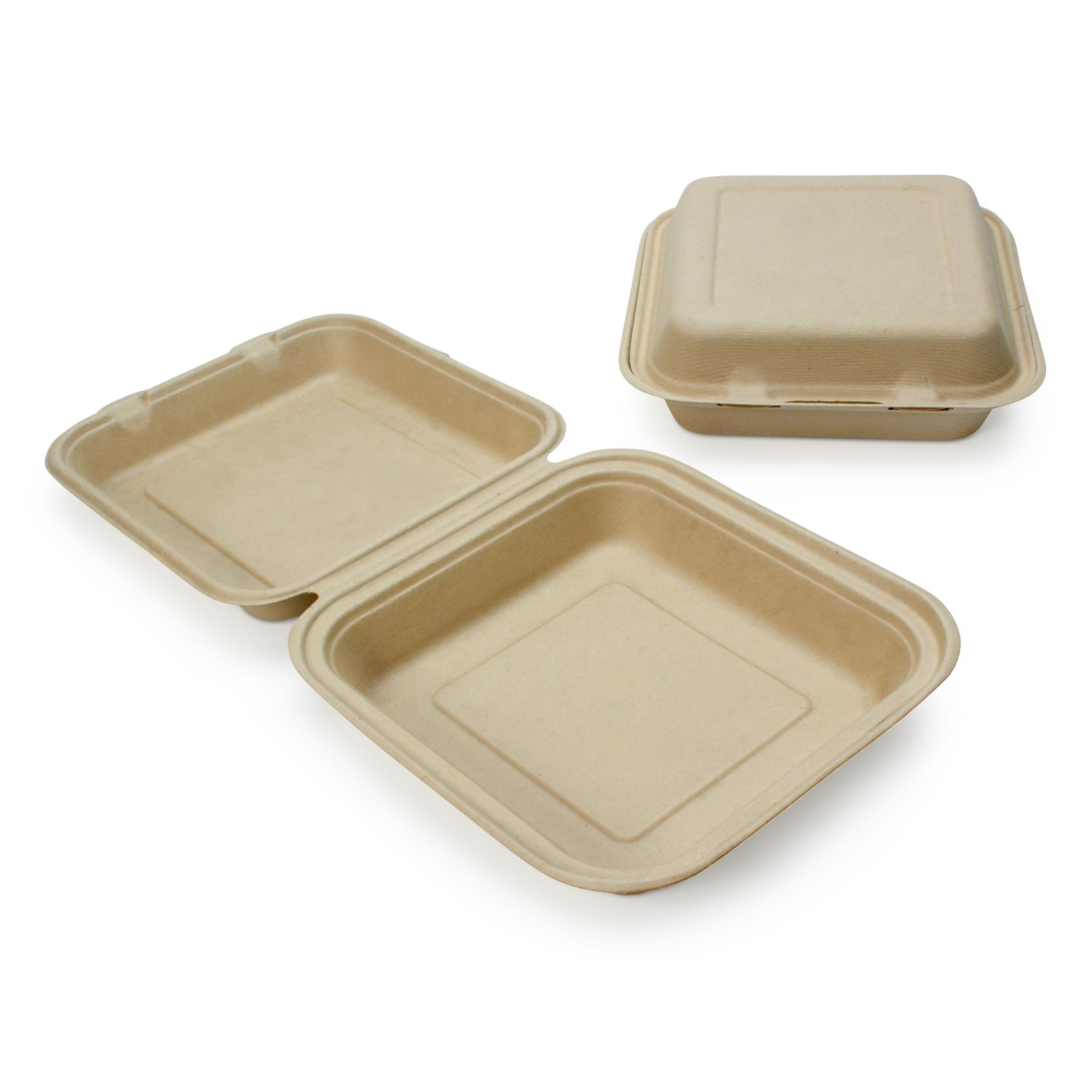Earth's Natural Alternative Wheat Straw Fiber, Bagasse (Sugarcane) Tree Free Alternative 8'' Clam Shell Container, 200/Case