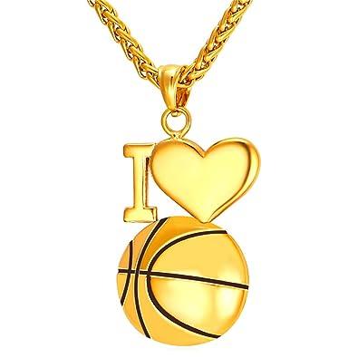 U7 Baloncesto Colgante cadena trigo chapado en Oro 18K collar ...
