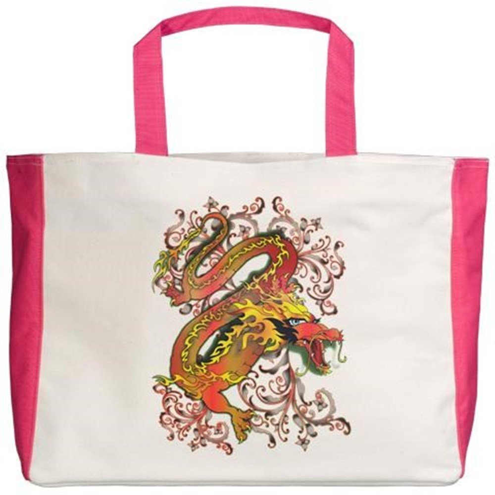 Royal Lion Beach Tote 2-Sided Fire Dragon