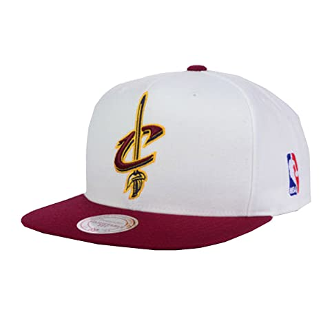 Image Unavailable. Image not available for. Color  Cleveland Cavaliers  Mitchell   Ness Logo Snapback Cap Hat White Burgundy 671d9cfda8ed