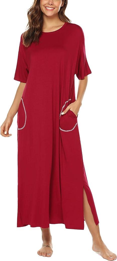 Kleid Nachtwäsche Damen Nachthemden Nacht Kleid Robe Nachtwäsche Halbe Hülse