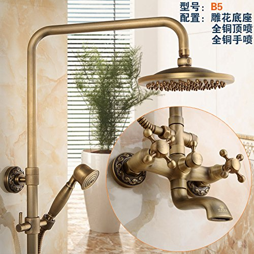 H8( Heated) NewBorn Faucet Kitchen Or Bathroom Sink Mixer Tap All Copper Antique Water Tap S Antique Elevator Shower Large Shower Water Tap Kit Gy859B8