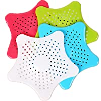 TRIXES Star Shaped Silicone Sink Bath Shower Drain Plug Hole Filters Catchers Traps