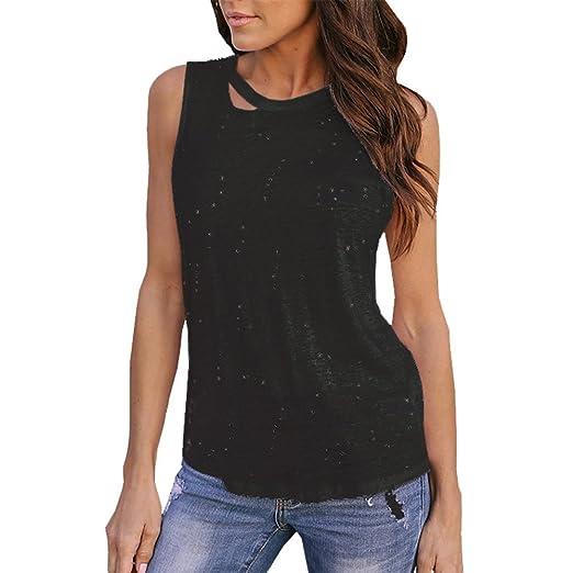 eca828f6aa HGWXX7 Women Summer Sexy Vest T Shirt Casual Solid Sleeveless Hole Crop Top  Tank Vest Beach