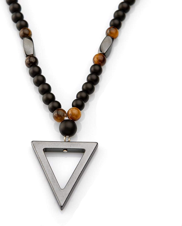 PerlaStyle Collar de Hombre o Mujer con Piedra de hematita|Collar con Piedras de Onix Mate 6mm y Hematita energético