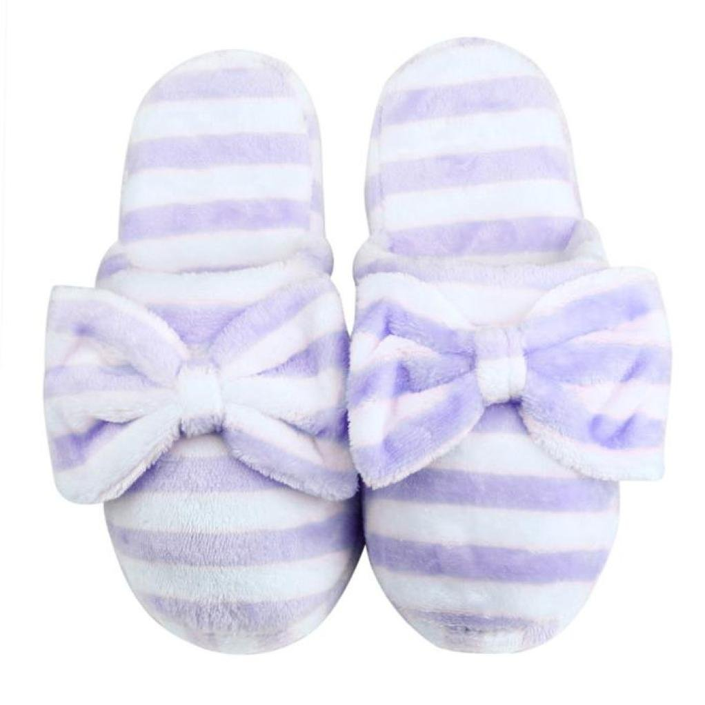 Sunward Fashion Women Indoor Slippers, Lovely Stripe Bowknot Super Soft & Lightweight Warm Home Floor Slippers Shoes (M(=US 7-8), Pink) LLH51027323