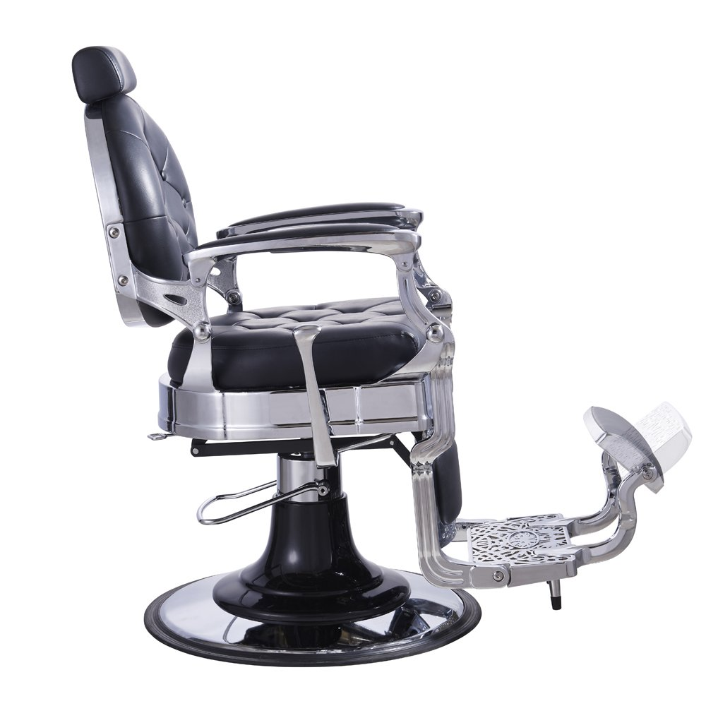 Heavy Duty Mens Vintage Style Barber Chair Vanquish Black