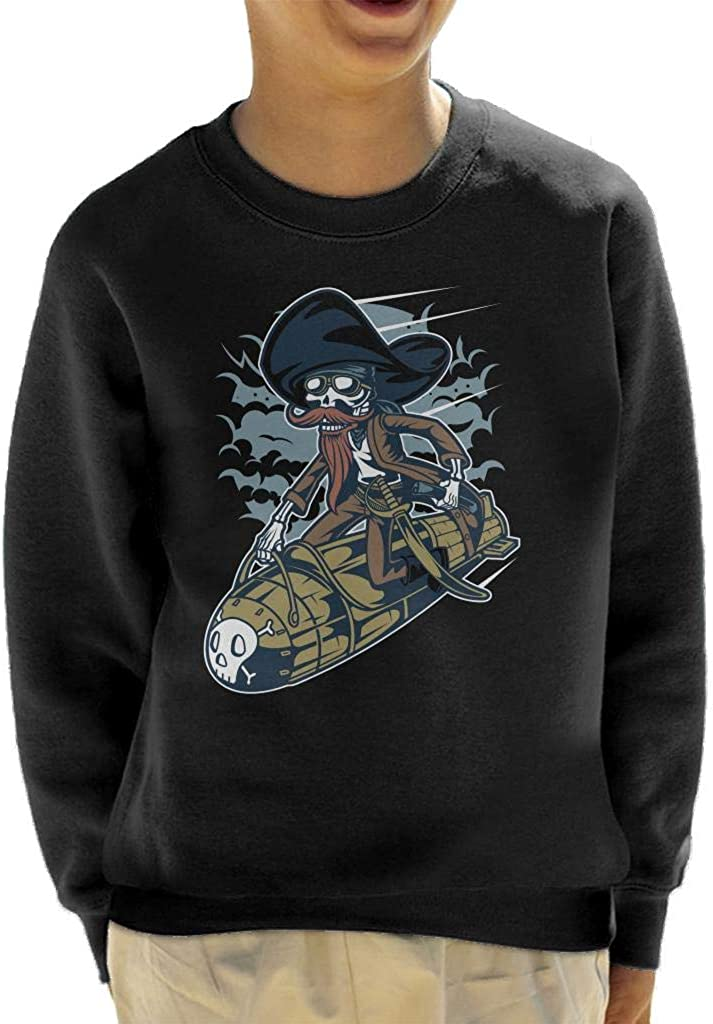 Skeleton Rocket Rider Kids Sweatshirt