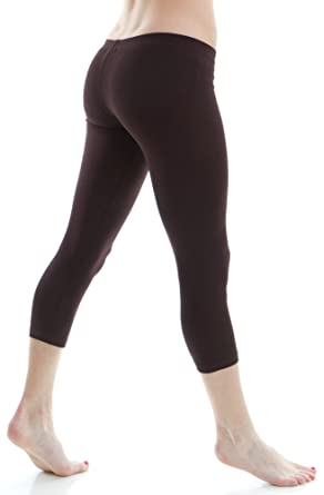 7a3b8eb1079f0e Zenana Women's Outfitters Cotton Spandex Jersey Crop Legging,Small,Dark  Brown.Dark Brown
