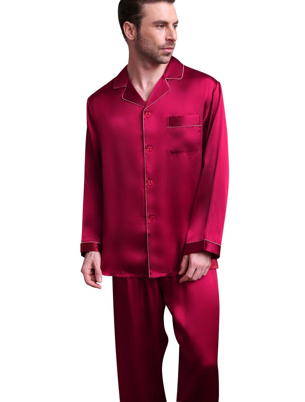 Viinin メンズ シルクパジャマ 天然シルク100% 滑らかな着心地 前開き 長袖 ギフトにも最適 B07CHQ1XMG M|レッド レッド M