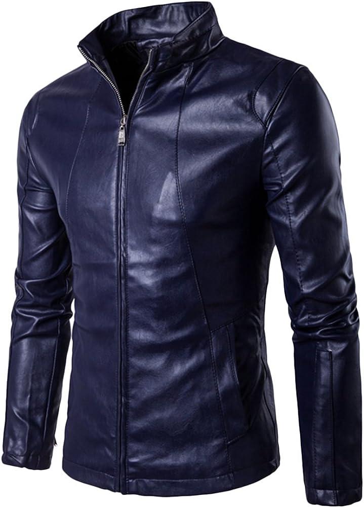 Zhuhaitf Mens Zipper Casual Stand Collar Fashion Motorcycles Bike Slim Fit PU Leather Jacket Coat