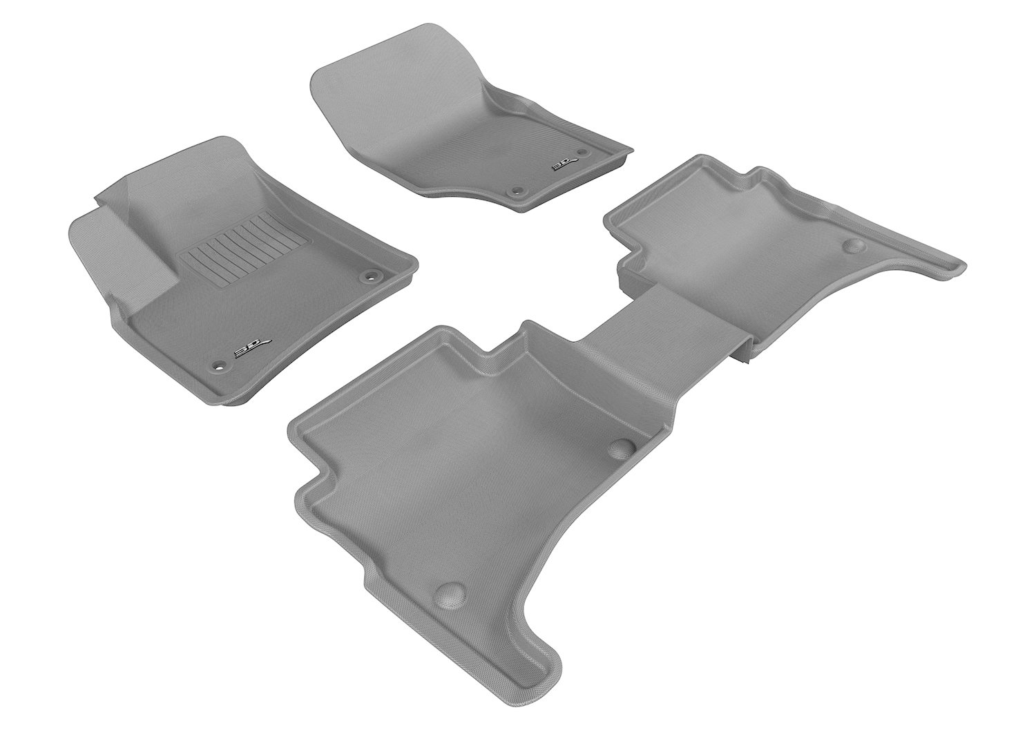 3D MAXpider Complete Set Custom Fit All-Weather Floor Mat for Select Volkswagen Touareg Models Gray L1VW01201501 Kagu Rubber