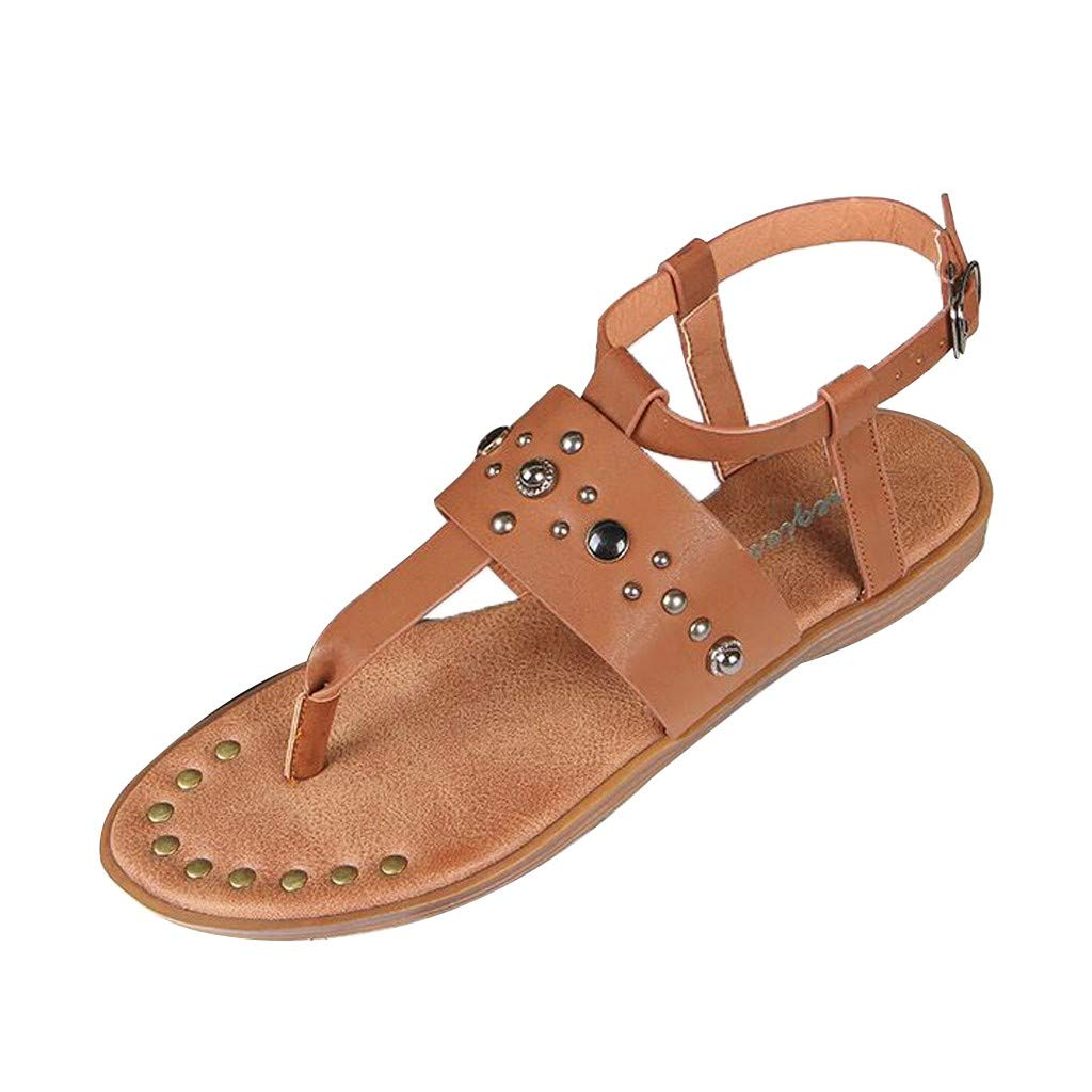 Fastbot Women's Summer Sandals Open Toe Casual Comfort Fashion Buckle Flat Hollow Roman Flip Flops Shoes Brown
