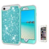 Funyye 3 in 1 Hard PC Case for iPhone 6S/7/8,Mint Green Luxury Creative Sparkly Shiny Beauty Protective Shockproof Slim Case for iPhone 6/7/8,Durable Impact Resistant Protective 360 Degree Full Body Front Screen and Back Protective Cover for iPhone 6S/iPhone 7/iPhone 8 + 1 x Free Screen Protector