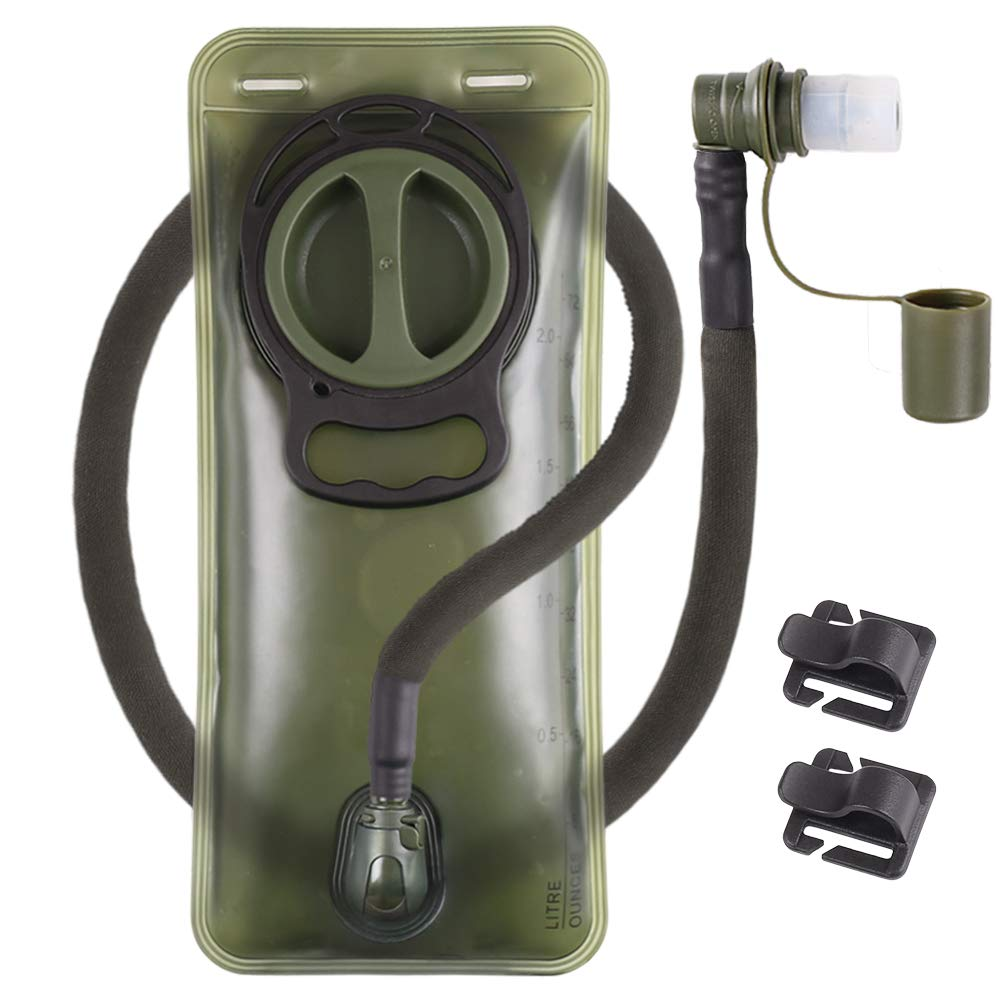 Hydration Bladder 2L Leakproof 2 Liter Water Reservoir, BPA Free Military Green Water Storage Bladder Bag with Insulated Tube, Hydration Backpack Replacement for Outdoor Hiking Camping Running Cycling by LANNEY