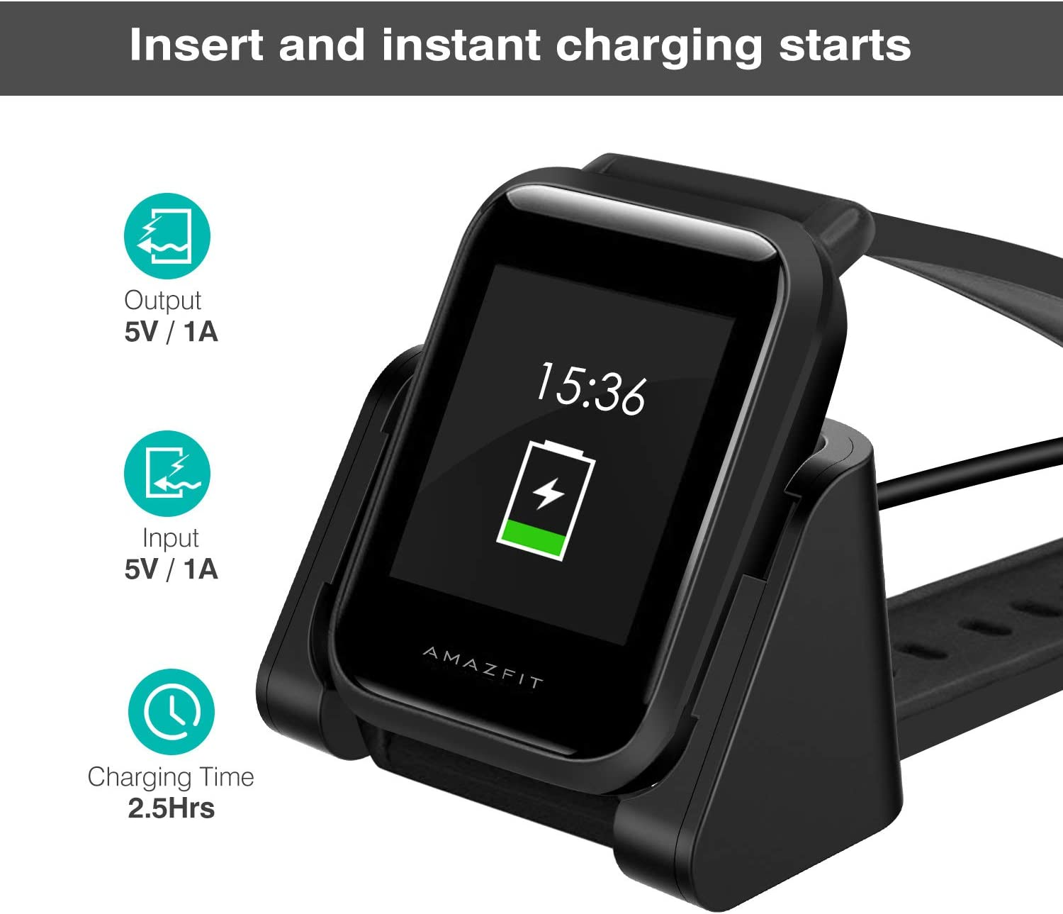 MoKo for Amazfit Bip Charger, Portable Replacement USB Charger Charging Stand Adapter Station Cradle Dock with Cable for Amazfit Bip - Black